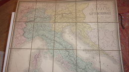1866 ITALIE TOILEE CARTE ROUTIERE DE L ITALIE SEPTENTRIONALE BRUE GEOGRAPHE COULEUR TBE - Cartes Routières