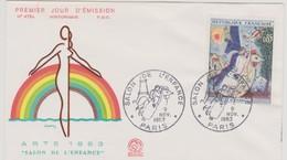 FRANCE 1963 FDC 1er Jour N°YT 1398 Marc CHAGALL Salon De L'Enfance ARTS 1963 PARIS 9-11-1963 - FDC