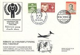 Denmark Flight Cover 20-5-1979 Rönde ROTARY Help Pattaya Thailand Also With A Thailand Stamp - Cartas