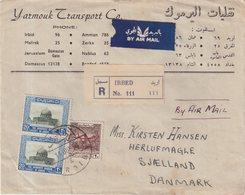 """JORDANIE : PA . REC . DE """" IRBID """" POUR LE DANEMARK . 1954 . - Jordanien"""