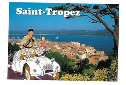 83-----SAINT-TROPEZ--HUMOUR----( Voiture 2CV + Gendarme + Religieuses )--voir 2 Scans - Saint-Tropez