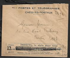 Cheque Cover France,chèques Postaux.CCP.Postes Telegraphes Et Telephones,ink Pen Pencil - Publicités