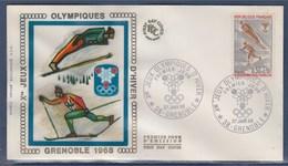 = Jeux Olympiques D'Hiver Enveloppe 1er Jour 38 Grenoble 27.1.68 N°1543 Ski (saut Et Fond) - Winter 1968: Grenoble
