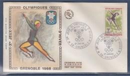 = Jeux Olympiques D'Hiver Enveloppe 1er Jour 38 Grenoble 27.1.68 N°1546 Patinage Sur Glace - Winter 1968: Grenoble