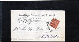 CG10 - Cartolina Postale Da Varese 15/2/1891 Per Comerio - Other