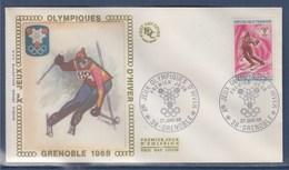 = Jeux Olympiques D'Hiver Enveloppe 1er Jour 38 Grenoble 27.1.68 N°1547 Ski, Slalom - Winter 1968: Grenoble