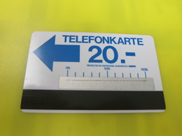 Autelca Phonecard, 20 DM,blue Text With A Silver Stripe(a Tiny Bend In The Middle On The Top) - T-Series : Tests