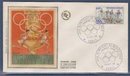 = Jeux Olympiques De Mexico 1968 Enveloppe 1er Jour Paris 12.10.68 N°1573 Athlétisme Le Relais - Zomer 1968: Mexico-City