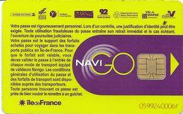 CARTE A PUCE CHIP CARD TRANSPORT CIRCULATION RATP STIF  PARIS ILE DE FRANCE PASS NAVIGO - Autres