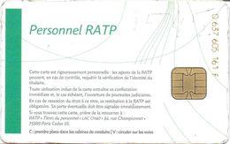 CARTE A PUCE CHIP CARD TRANSPORT CIRCULATION PERSONNEL RATP STIF  PARIS ILE DE FRANCE - Autres