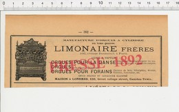 Publicité Limonaire Frères Orgues Pour La Danse Anti-Asthmatiques Barral Sirop Dentition Delabarre Bébé Nourrice 222R2 - Unclassified