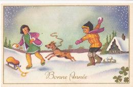 Bonne Année (Voeux) - Enfants - Chien - Luge - Trèfle - Neige - New Year
