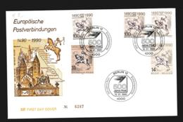 Europäische Postverbindungen 1490-1990: FDC From Berlin, DDR, Belgium, Austria And Germany 1990 (G109-20) - Correo Postal