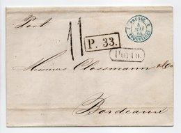 - Lettre SAINT-PETERSBOURG Via PRUSSE / ERQUELINES Pour BORDEAUX 19 AVRIL 1864 - Taxe Manuscrite 11 Décimes - - Marques D'entrées