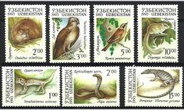 Uzbekistan 1993 Native Fauna, Animals, Birds, Snakes Mi 7-13, MNH - Oezbekistan