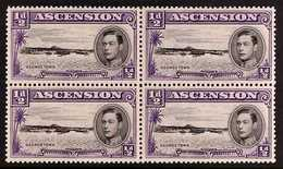 """1938 ½d Black And Violet, Perf. 13½, Block Of Four With One Showing Long Centre Bar To """"E"""", SG 38a, Fine Never Hinged Mi - Ascension"""