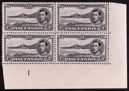 """1940 3d Black And Grey Perf. 13½, SG 42a, Lower Right Corner Plate """"1"""" Block Of Four, Fine Never Hinged Mint. For More I - Ascension"""