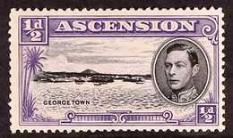 1944 ½d Black And Bluish Violet With TORPEDO FLAW, SG 38bb, Mint With A Vertical Crease. For More Images, Please Visit H - Ascension