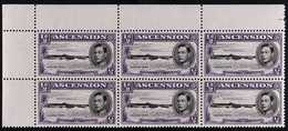 """1944 ½d Black And Bluish Violet, Upper Left Corner Block Of Six, One Showing Long Centre Bar To """"E"""", SG38ba, Never Hing - Ascension"""