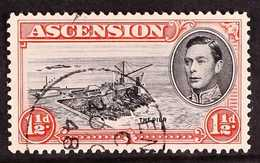 1944 1½d Black And Vermilion Perf. 13, With DAVIT FLAW, SG 40ba, Fine Cds Used. For More Images, Please Visit Http://www - Ascension