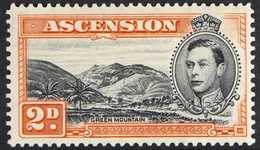 1944 2d Black And Red-orange Perf. 13, With MOUNTAINEER FLAW, SG 41aa, Fine Mint. For More Images, Please Visit Http://w - Ascension