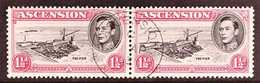 1953 1½d Black And Rose-carmine Perf. 13, Horizontal Pair With One Showing DAVIT FLAW, SG 40fa, Fine Central Cds Used, U - Ascension
