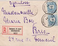 Env Recommandée T.P Ob Budapest Hazai Takarékpenztar Avril 95, Env Pour Paris,Tad Paris Etranger Chargements 15 Avril 95 - Lettres & Documents