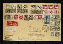 1938 Large Sizex Registered Cover To Germany Franked With Complete Sets Of Se-tenant Advertising Pairs, Many In Blocks,  - Belgium