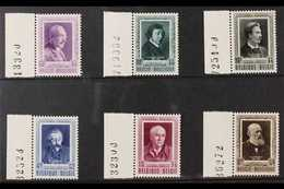 """1952 Cultural Fund """"Portraits"""" Complete Set, Cob 892/97, SG 1410/15, With Marginal Sheet Numbers, Never Hinged Mint (6 S - Belgium"""