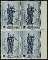 1954 9fr + 4fr 50 Blue Beguinage De Bruges, COB 951, Super Used Block Of 4 With Neat Central Liege Cds Cancels. For More - Belgium