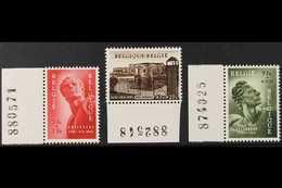 1954 Political Prisoners' National Monument Fund Set, Cob 943/45, SG 1531/33, Marginal Never Hinged Mint (3 Stamps) For  - Belgium
