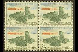 1957 5f+2.50f Antarctic Expedition Stamps From Mini-sheets (Michel 1073, COB 1031), Superb Never Hinged Mint BLOCK Of 4, - Belgium