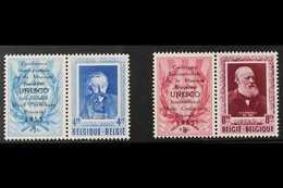 "PRIVATE ISSUES 1953 UPU Se-tenant Set Overprinted ""UNESCO"", Cob PR119/20, Never Hinged Mint (2 Se-tenant Pairs) For More - Belgium"