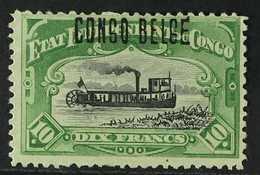 CONGO 1909 10fr Green, Congo H/s Type 7, COB 39L, Very Fine Mint No Gum. For More Images, Please Visit Http://www.sandaf - Belgium
