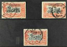 CONGO 1909 3fr 50fr Vermilion And Black, Handstamped Locally, COB 37L, 3 Very Fine Used Examples Showing Varying Ovpt Ch - Belgium
