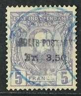 CONGO PARCEL POST 1887 3fr 50 On 5fr Violet, COB CP2, Good Used With Blue Banane Cds. Scarce Stamp. For More Images, Ple - Belgium