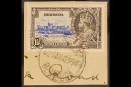 """1935 JUBILEE VARIETY. 1½d Ultramarine & Grey """"BIRD BY TURRET"""" Variety, SG 95m, Fine Cds Used Tied To A Small Piece. Love - Bermuda"""