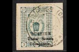 1915 (Sept) 3ch Deep Green, SG 17, Very Fine Used Tied To Piece With Persiphila Certificate. 149 Examples Prepared. For  - Iran