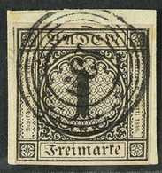 """BADEN 1851 1kr Black On Pale Brown, Mi 1b, Superb Used On Piece With """"139"""" In Circles Cancel. For More Images, Please Vi - Germany"""