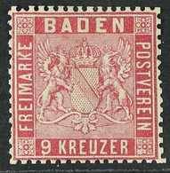 BADEN 1860 9kr Carmine, Perf 13½, Mi 12, Very Fine Mint Og. For More Images, Please Visit Http://www.sandafayre.com/item - Germany