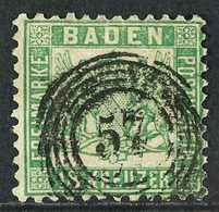 BADEN 1862 18kr Deep Green, Perf 10, Mi 21b, Used. Tiny Repair But Very Scarce Used. Signed Pfenniger. For More Images,  - Germany
