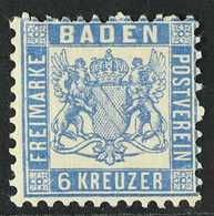 BADEN 1862 6kr Prussian Blue, Mi 19b, Fine And Fresh Mint, Tiny Hinge Thin. For More Images, Please Visit Http://www.san - Germany
