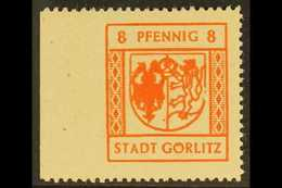 GORLITZ 1945 8pf Red-orange Economy Gum IMPERF AT LEFT Variety, Michel 7x Ul, Superb Never Hinged Mint, Also Showing 'br - Germany