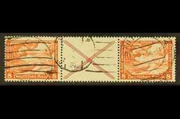 1933 8pf+label+8pf Orange-red Wagner Horizontal SE-TENANT STRIP, Michel W 54, Fine Used, Fresh & Scarce. For More Images - Germany