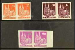 AMERICAN & BRITISH ZONE 1948-52 25pf, 60pf, And 90pf Cologne Cathedral Definitives, Each As IMPERF PAIRS, Mi 87 IV W U,  - Germany