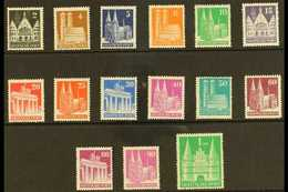 BRITISH & AMERICAN ZONES 1948-50 Buildings Perf 14 Complete Set (Michel 73eg/97eg, SG A108a/A132ba), Never Hinged Mint,  - Germany