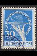 1949 30pf Blue Berlin Relief Fund PLATE FLAW, Michel 70 I, Very Fine Cds Used, Signed Richter, Very Fresh, Scarce Variet - [5] Berlin