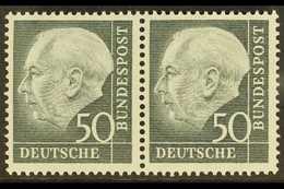 1954-61 50pf Slate-black Heuss (Michel 189x, SG 1115), Never Hinged Mint HORIZONTAL PAIR, Very Fresh. (2 Stamps) For Mor - [6] Democratic Republic