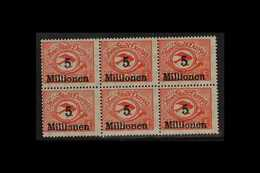 1923 5mio On 5000m Scarlet Air Surcharge (Michel 180, SG 65), Never Hinged Mint BLOCK Of 6 With The Top Middle Stamp Sho - Danzig
