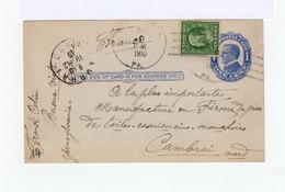 Carte Entier Postal One Cent Mc Kinley, Avec Timbre 1 Cent. CAD Buena Vista PA 1910 Et Destnination CAD Cambrai. (1043x) - Postal Stationery